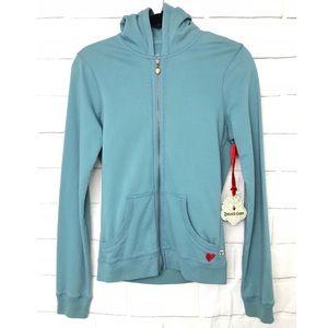 Twisted Heart Blue Sequins & Beaded Zip up Hoodie